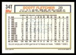 1992 Topps Traded #34 T Scott Fletcher  Back Thumbnail