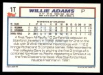 1992 Topps Traded #1 T  -  Willie Adams Team USA Back Thumbnail