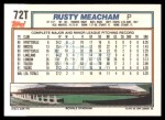 1992 Topps Traded #72 T Rusty Meacham  Back Thumbnail