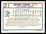 1992 Topps Traded #119 T  -  Michael Tucker Team USA Back Thumbnail