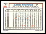1992 Topps Traded #77 T Jack Morris  Back Thumbnail