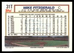 1992 Topps Traded #31 T Mike Fitzgerald  Back Thumbnail