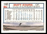 1992 Topps Traded #110 T Matt Stairs  Back Thumbnail