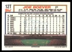 1992 Topps Traded #12 T Joe Boever  Back Thumbnail