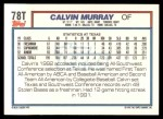 1992 Topps Traded #78 T  -  Calvin Murray Team USA Back Thumbnail