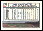 1992 Topps Traded #20 T Tom Candiotti  Back Thumbnail