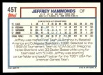 1992 Topps Traded #45 T  -  Jeffrey Hammonds Team USA Back Thumbnail