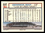 1992 Topps Traded #68 T Derrick May  Back Thumbnail