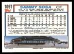 1992 Topps Traded #109 T Sammy Sosa Cubs  Back Thumbnail