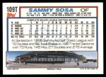 1992 Topps Traded #109 T Sammy Sosa Cubs  Back Thumbnail