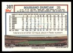 1992 Topps Traded #30 T Mariano Duncan  Back Thumbnail