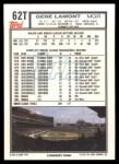 1992 Topps Traded #62 T Gene Lamont  Back Thumbnail