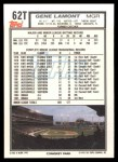 1992 Topps Traded #62 T Gene Lamont  Back Thumbnail