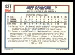 1992 Topps Traded #43 T  -  Jeff Granger Team USA Back Thumbnail