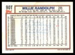 1992 Topps Traded #90 T Willie Randolph  Back Thumbnail