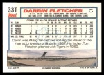 1992 Topps Traded #33 T Darrin Fletcher  Back Thumbnail