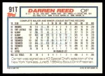 1992 Topps Traded #91 T Darren Reed  Back Thumbnail