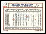 1992 Topps Traded #79 T Eddie Murray  Back Thumbnail