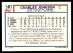 1992 Topps Traded #56 T  -  Charles Johnson Team USA Back Thumbnail