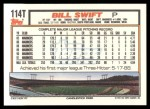 1992 Topps Traded #114 T Bill Swift  Back Thumbnail