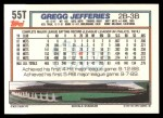 1992 Topps Traded #55 T Gregg Jefferies  Back Thumbnail