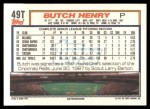 1992 Topps Traded #49 T Butch Henry  Back Thumbnail