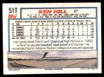 1992 Topps Traded #51 T Ken Hill  Back Thumbnail