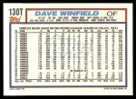 1992 Topps Traded #130 T Dave Winfield  Back Thumbnail