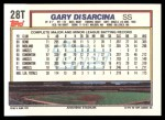 1992 Topps Traded #28 T Gary DiSarcina  Back Thumbnail