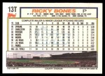 1992 Topps Traded #13 T Ricky Bones  Back Thumbnail