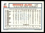 1992 Topps Traded #4 T Moises Alou  Back Thumbnail