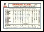 1992 Topps Traded #4 T Moises Alou  Back Thumbnail