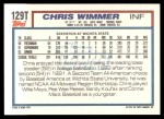 1992 Topps Traded #129 T  -  Chris Wimmer Team USA Back Thumbnail