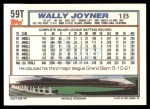 1992 Topps Traded #59 T Wally Joyner  Back Thumbnail