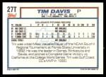 1992 Topps Traded #27 T  -  Tim Davis Team USA Back Thumbnail