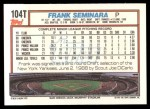1992 Topps Traded #104 T Frank Seminara  Back Thumbnail