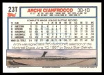 1992 Topps Traded #23 T Archi Cianfrocco  Back Thumbnail