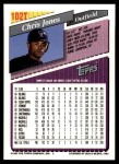 1993 Topps Traded #102 T Chris Jones  Back Thumbnail