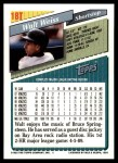 1993 Topps Traded #18 T Walt Weiss  Back Thumbnail