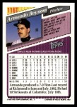 1993 Topps Traded #116 T Armando Reynoso  Back Thumbnail