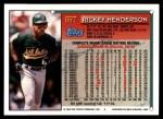 1994 Topps Traded #65 T Rickey Henderson  Back Thumbnail