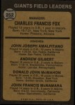 1973 Topps #252 BRN  -  Charlie Fox / Joe Amalfitano / Andy Gilbert / Don McMahon / John McNamara Giants Leaders Back Thumbnail