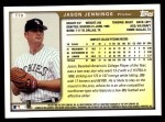 1999 Topps Traded #70 T Jason Jennings  Back Thumbnail