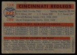 1957 Topps #322   Reds Team Back Thumbnail