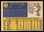 1970 Topps #243  Joe Sparma  Back Thumbnail