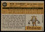 1960 Topps #501  Bob Schmidt  Back Thumbnail