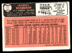 1966 Topps #490  Bobby Richardson  Back Thumbnail