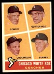 1960 Topps #458   -  Johnny Cooney / Don Gutteridge / Tony Cuccinello / Ray Berres White Sox Coaches Front Thumbnail