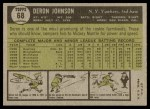 1961 Topps #68  Deron Johnson  Back Thumbnail