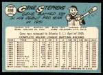 1965 Topps #498  Gene Stephens  Back Thumbnail